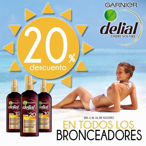 Te vas de vacaciones en Agosto y no tienes bronceador? No es problema...Del 1 al 31 en nuestras tiendas todos los solares Delial, tienen un 20% de descuento directo¡¡¡¡ Bronceate este verano con Delial de Garnier. ☀ ☀ ☀ #veranocoaspeco