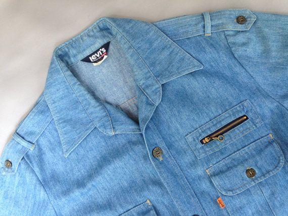 Vintage 1970's Men's LEVI Denim Shirt by fourBvintage on Etsy, $38.00