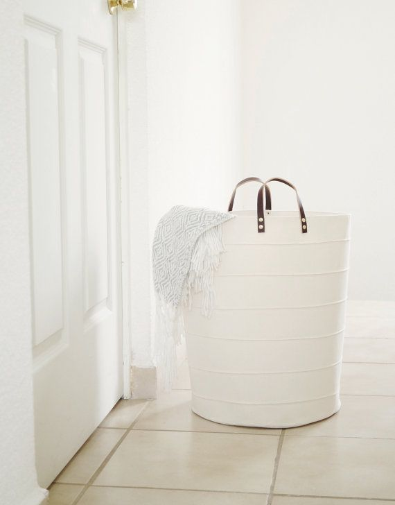 Laundry hamper. Large toy storage. Bathroom storage bucket Nursery fabric basket. Canvas storage bin White home decor Laundry room Kids room