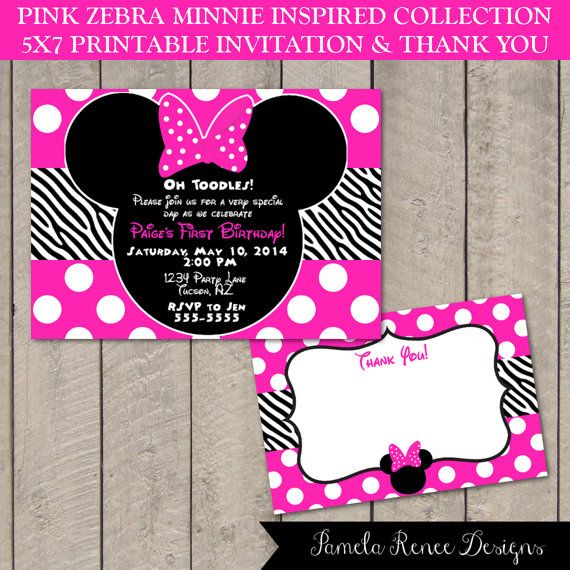 14 Best Images About Minnie Mouse Pink Zebra Birthday