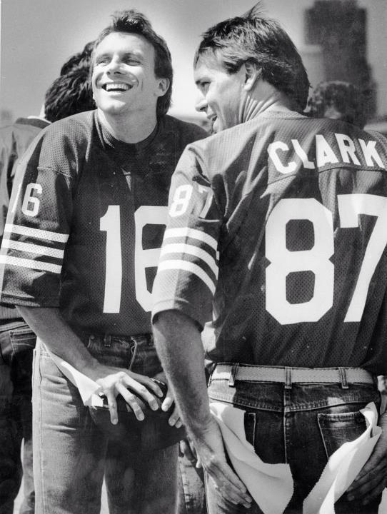 Joe Montana and Dwight Clark