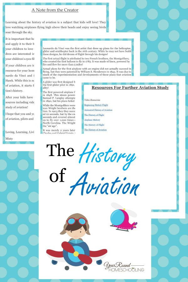 Aviation History Lesson - By Year Round Homeschooling