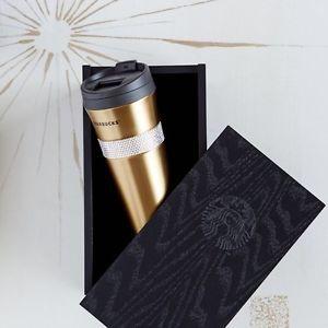 Starbucks Gold Swarovski Crystal 16oz Coffee Tumbler with Black Wood Box | eBay