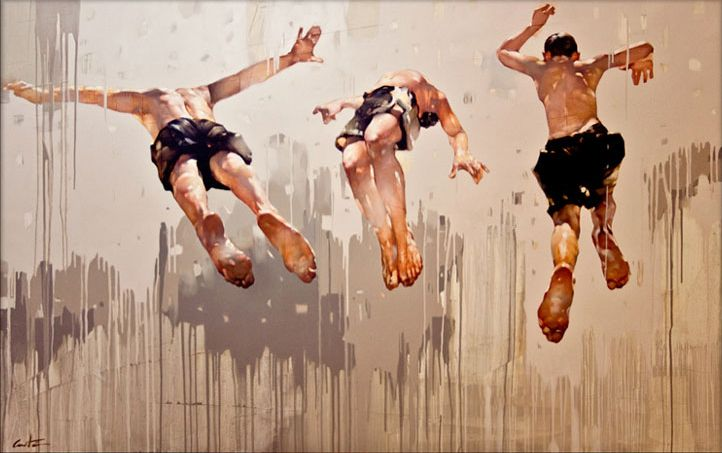 "Costa Dvorezky (b.1968, Russia/Canada) - Jump. Brothers. Oil on canves, 60""x 96"" [Costa Dvorezky on ARTchipel]"