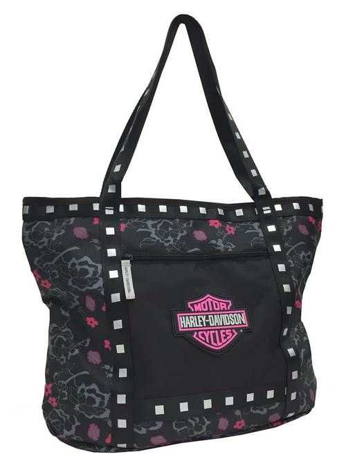 Free shipping - Harley-Davidson Bar & Shield Flowered Tote Bag, Black 7130519 - Womens/Handbags & Wallets/Handbags & Purses - For the Home/Coolers & Totes
