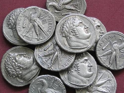 Tyros Shekel Palestine 100 BC tin replica coin | Antiquanova Judas' 30 Pieces of Silver - Matthew 26:14-15: 'Then one of the 12 called Judas Iscariot went unto the chief priests and said unto them 'What will ye give me and I will deliver him unto you?' And they covenanted with him for 30 pieces of silver....'