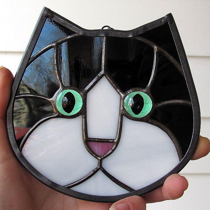 Black and White Tuxedo Stained Glass Kitty Cat Face Suncatcher ...