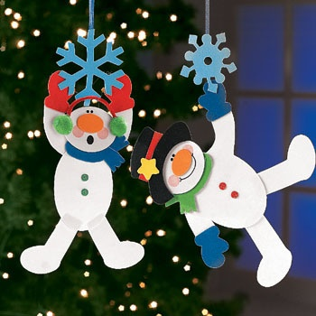 dangling snowman on snowflake ornament craft kit
