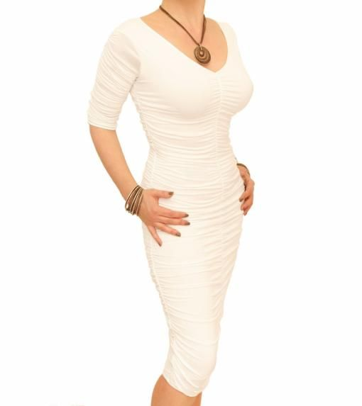 Ivory Ruched V Neck Dress £42.99 #womensfashion Justblue.com