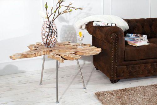 Exklusiver-Couchtisch-WILD-90-cm-Baumscheibe-Teakholz-Tisch-Wohnzimmer-Massiv