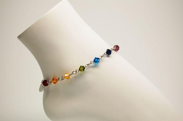 Bracelet cheville bijoux cheville chaine de pied cristal bijou chic bijou acier inoxydable 7 chakra mala Création Cristal Ev. #Chakra de la boutique CristalEv sur Etsy