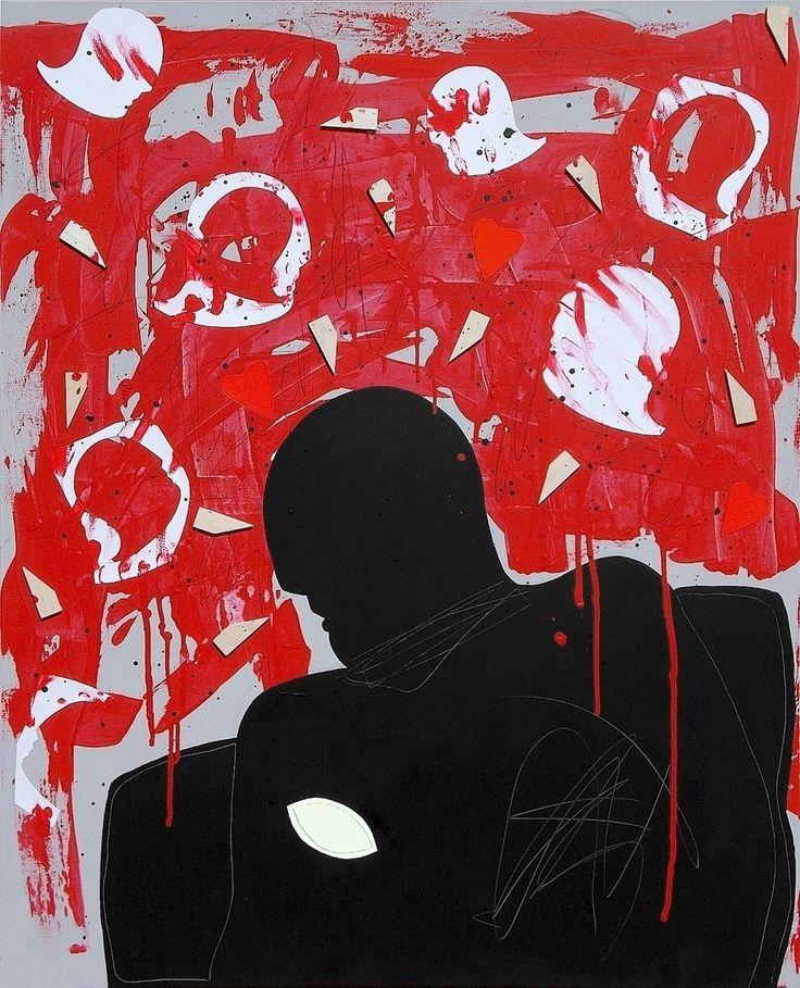 """andrea mattiello """"La notte"""" acrilico, grafite e collage su tela cm 80x100; 2013 #andreamattiello #arte #artecontemporanea #art #contemporaryart #artistaemergente #emergingartist #artforsale #livinart"""