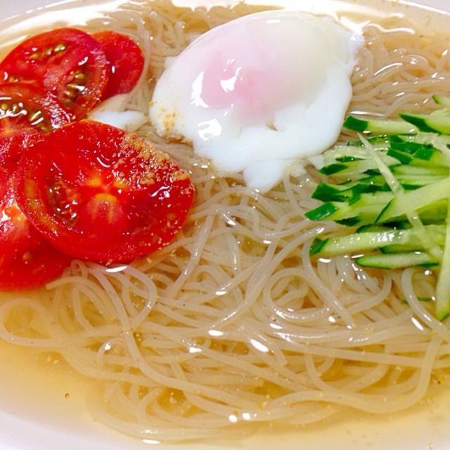 ツルツルッと、滋養のスープも美味しい♬ - 29件のもぐもぐ - スープが美味しい細打ち冷麺 by hiroohigucG4N
