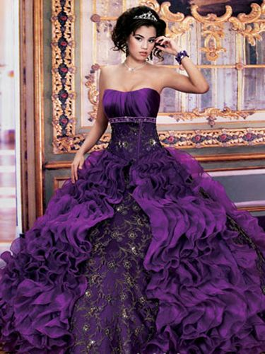 Colorful Quinceanera Dresses - Long Dress With Ruffled Peekaboo Skirt