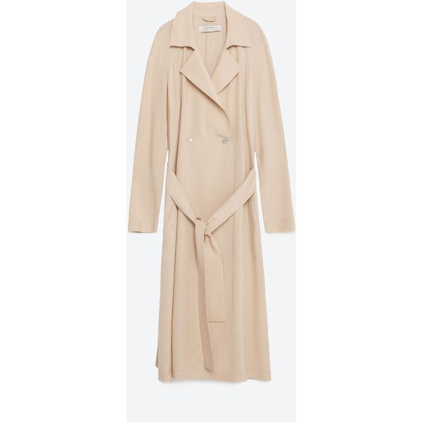 Zara Flowing Trench Coat ($129) ❤ liked on Polyvore featuring outerwear, coats, zara, pale pink, zara trenchcoat, trench coats, beige trench coat, zara coats and beige coat