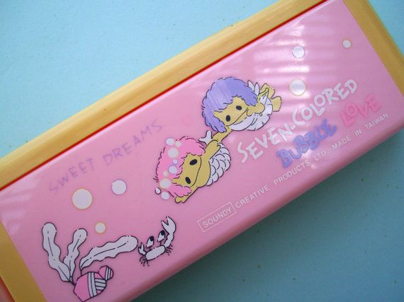 Pink Mermaid Pencil Box. 80s Soundy Pencil Case. by JirjiMirji, €31.70