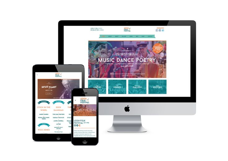 Responsive website design and development, with content management for Leigh Folk Festival.
