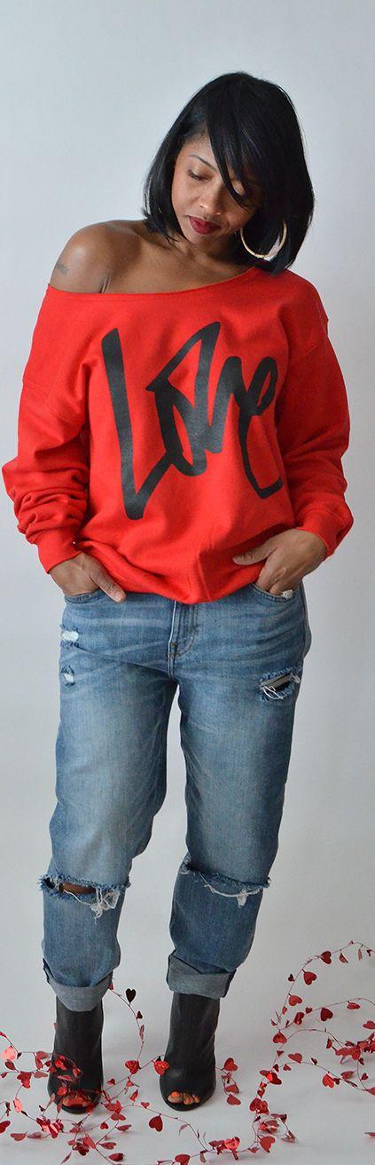 Love, valentines day outfit idea, boyfriend jeans, dentz denim, fall outfit idea, winter outfit idea