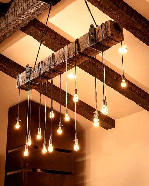Reclaimed Wood Beam Chandelier | Playa Del Carmen Rustic Industrial Lamps & Furniture