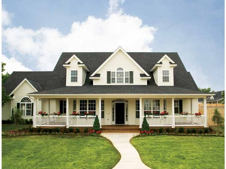 Eplans House Plan: This farmhouse has a touch of Lowcountry flair. Columns and dormers accent a deep porch, while gables and half-circle transoms add angles and soft curves for architectural interest. Floor space is expan