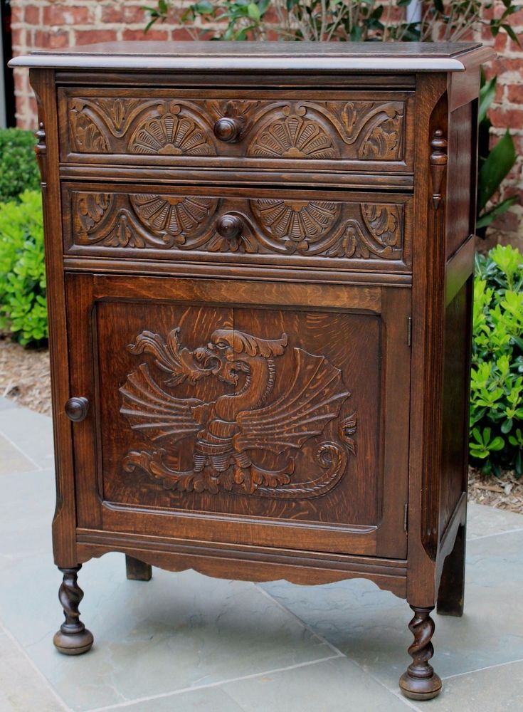 ~ Antique English Carved Oak Gothic Barley Twist Cabinet ...