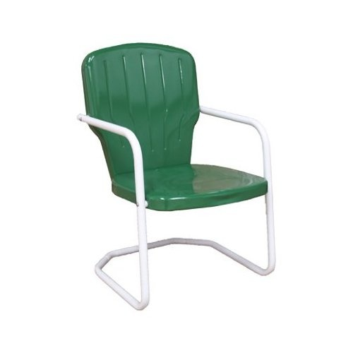 Skylark Green Retro Metal Lawn Chair