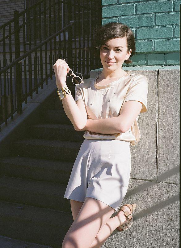 Britt Lower wearing Alexandra Grecco pixie shorts styled by Siri Thorson