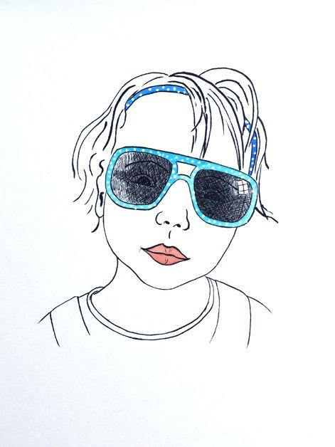 Portrait Kind mit Sonnenbrille,  lustig, comicartig, liebevoll, Karikatur,  Tusche auf Künstlerpapier Din A4