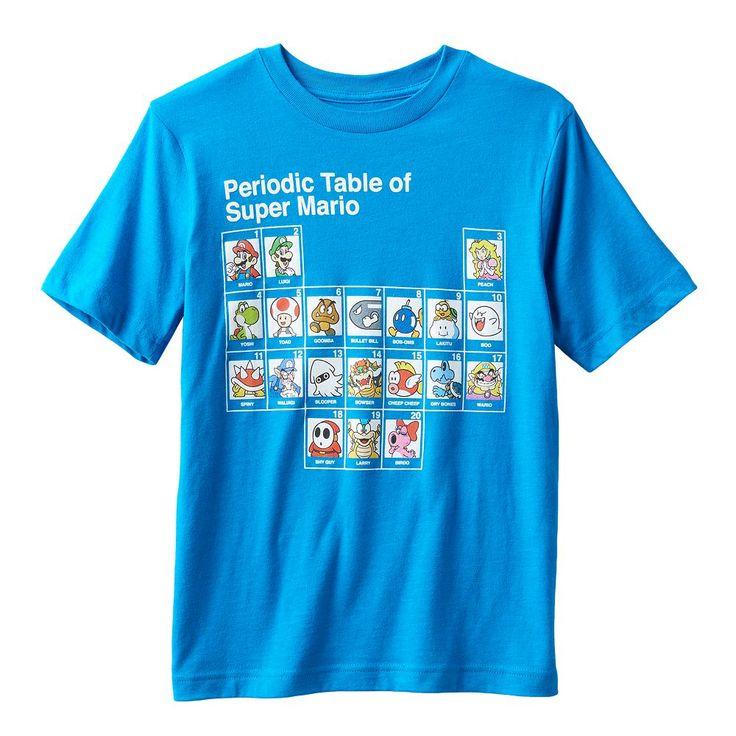 Boys 8-20 Super Mario Bros. Periodic Table Tee, Size: Medium, Red Overfl
