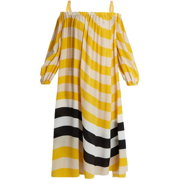 Fendi Wave-print off-the-shoulder kaftan ($1,098) ❤ liked on Polyvore featuring tops, tunics, beach tops, off shoulder tops, beach kaftan, silk caftan and kaftan tunic