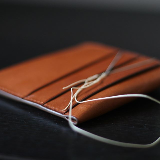 Getting ready to stitch. Almost done! #leatherwallet #leathercraft #handcrafted #vegtanned #handstitched #saddlestitched #tempestimaine #tempesti