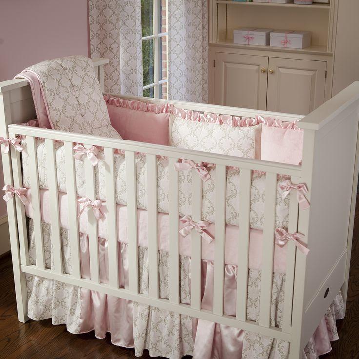 Pink and Taupe Damask Crib Bedding   Girl Crib Bedding in Light Pink and Brown Damask   Carousel Designs