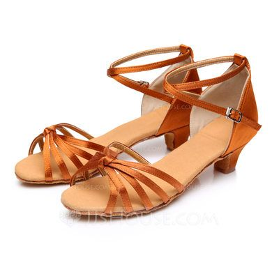 Women's Kids' Satin Heels Sandals Latin With Ankle Strap Dance Shoes (053088017)