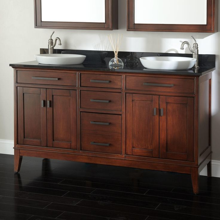 "60"" Tobacco Madison Double Vanity for Semi-Recessed Sinks"