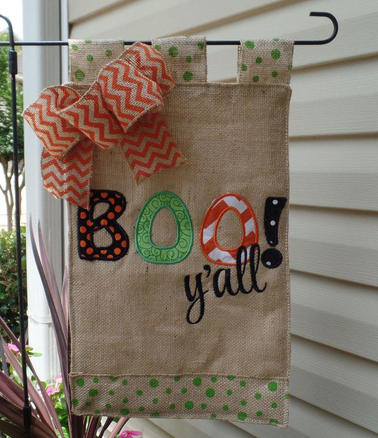 Halloween Boo y'all  Appliqued Fall Garden Flag, Garden flag, outdoor decoration, fall garden flag, burlap fall yard flag by cindidavis1 on Etsy