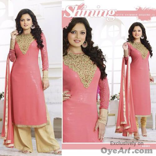 This #Bright #Pink #dress for the bright #girl in you. The contrast #embroidery #enhances the #beauty like never before.