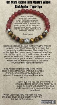 Om Mani Padme Hum Prayer Wheel: Red Agate • Tiger Eye Yoga Mala Bead Bracelet