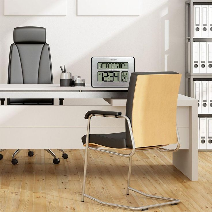 Atomic Full Calendar Digital Clock with Extra Large Digits - Perfect Gift for the Elderly, Silver