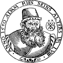 """Adam Ries 1492 – 1559 He is generally considered to be the """"father of modern calculating"""" he decided to stop the use of  Roman numerals because difficulty and mostly used considerably more structured Arabic numerals. He wrote two mathematics books and had them published.  In 1524 however, he ended his work on a manuscript of his algebra textbook """"Coß"""", but for some reason was not published until 1992."""