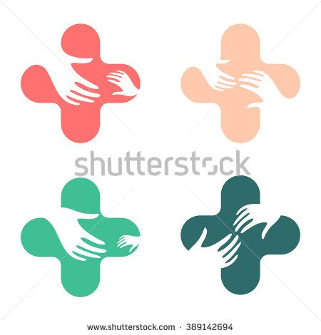 Hands of Mercy. Company logo help disadvantaged people, children, women. The symbol of mutual aid and support. Cross logos set. Care logotype.