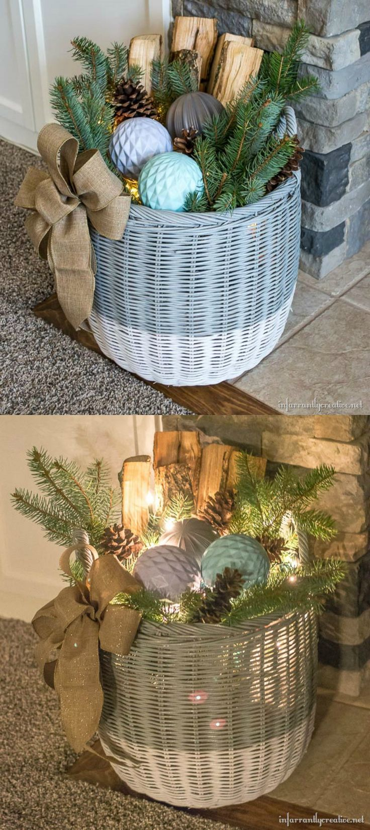 DIY Home Decor ~ Use items from your yard and a cheap basket to create this simple Winter Wonderland basket with lights. I love the soft glow it gives out at night and that it can remain out through the holidays!