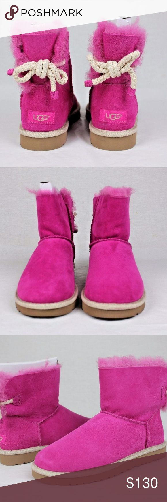 UGG Selene Nautical Rope Bow Fuchsia size 10 UGG authentic Selene rope bow boots Sz 10 new 100% authentic QR reader scannable tag. New with tags. UGG Shoes Ankle Boots & Booties