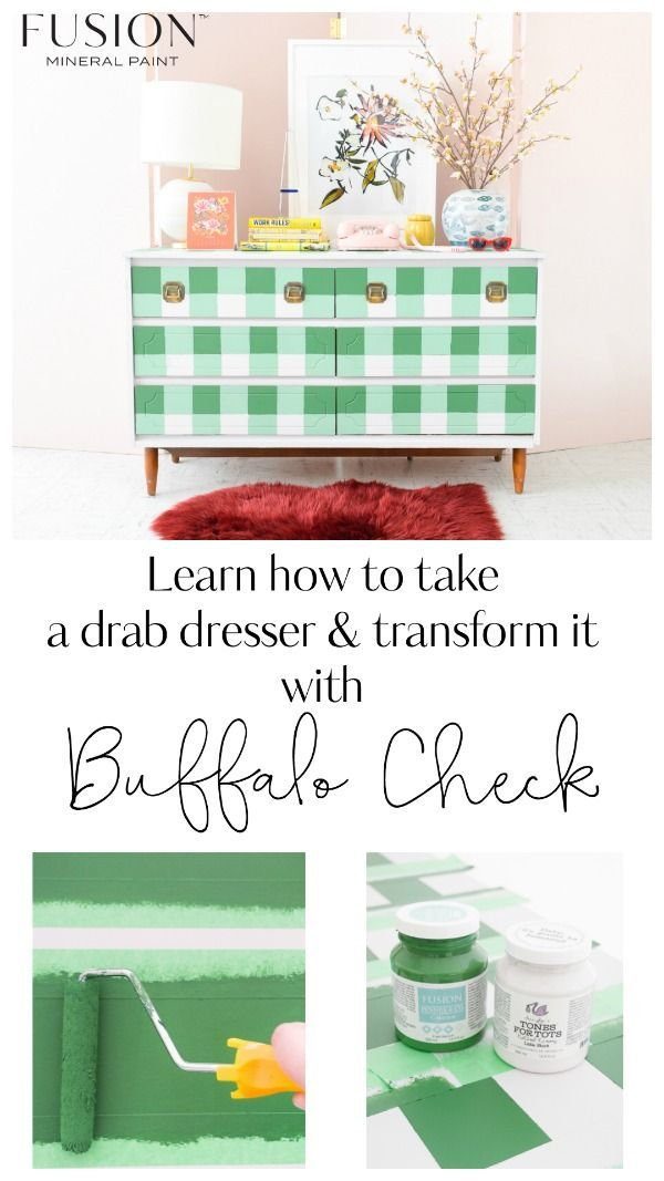 Diy Buffalo Check Dresser With Images Painting Furniture Diy