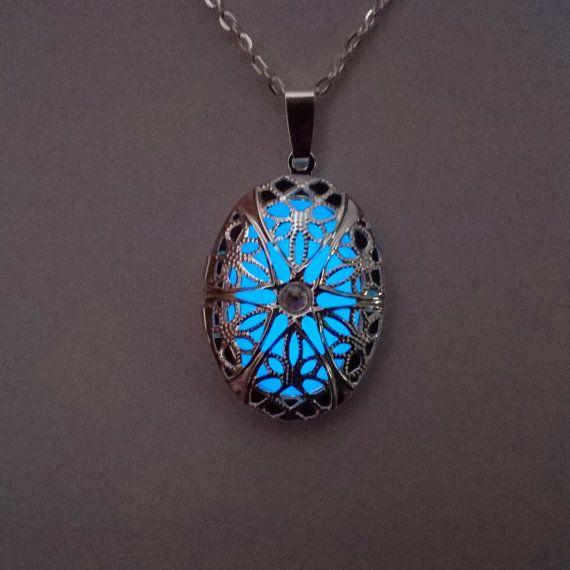 Blue Glowing Locket Necklace // Girlfriend by BespokeInnaDesign