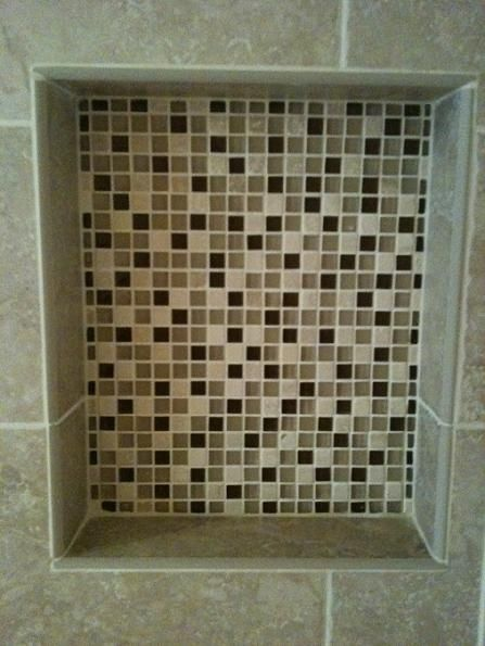Shower Niche With 5 8 Quot X 5 8 Quot Glass Amp Marble Mosaic Mix Tampa Florida Tile Installation By