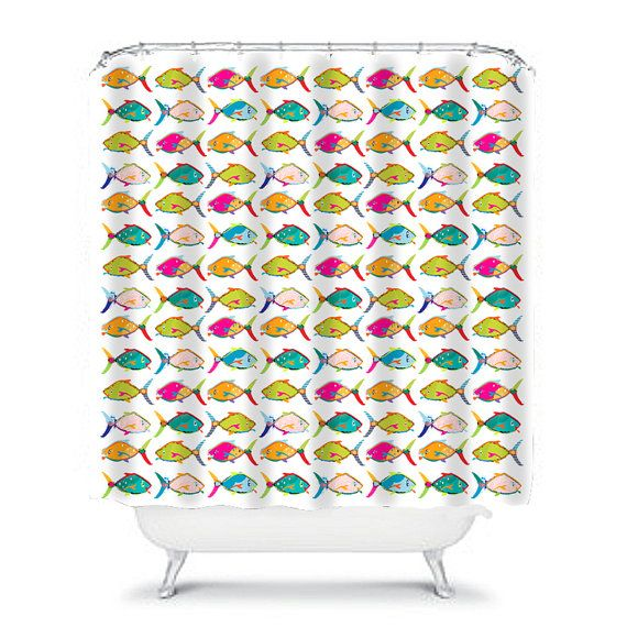 colorful shower curtain kids bathroom decor kids shower curtain fish shower curtain childrens bathroom fish bathroom fish decor fun shower