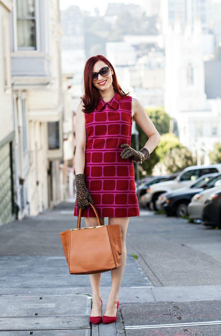 Retro Alyssa Nicole San Francisco Fashion Blogger Street Style Full Body S H I F T D R E S S