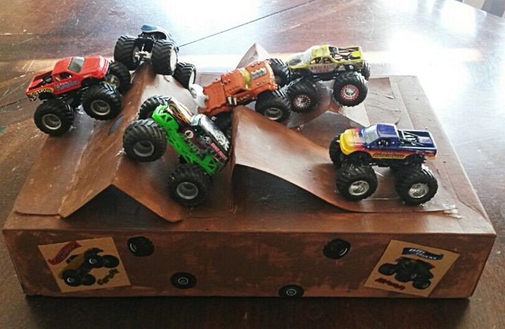 Monster trucks Valentine's Day box.  Great box for a boy