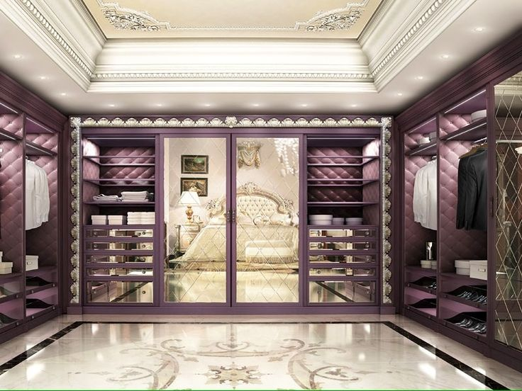 Luxury walk in closet custom built in cabinets purple with marble floors and crown molding - Foto cabine armadio ...