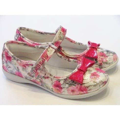 Lelli Kelly Sofia LK9608 Pink Floral Mary Jane With Patent Bow